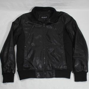 Guess Men's Faux Leather Bomber Jacket. Small.